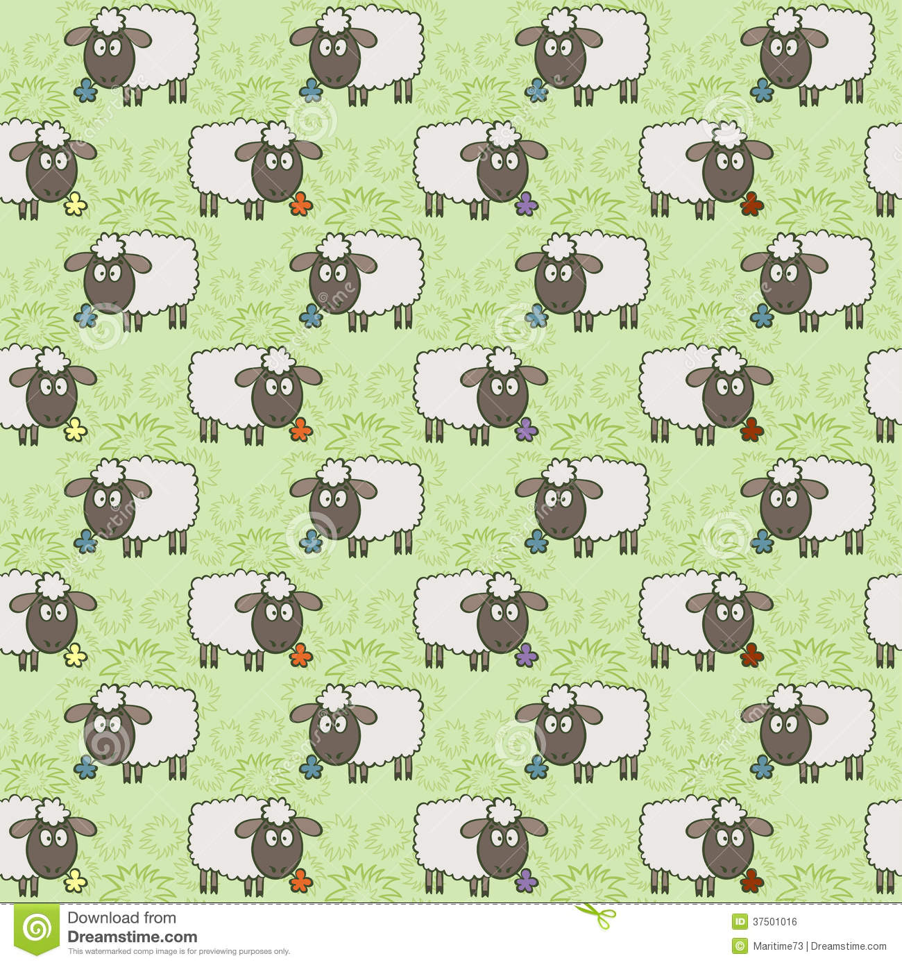 Seamless Pattern With Sheep Royalty Free Stock Image - Image: 37501016
