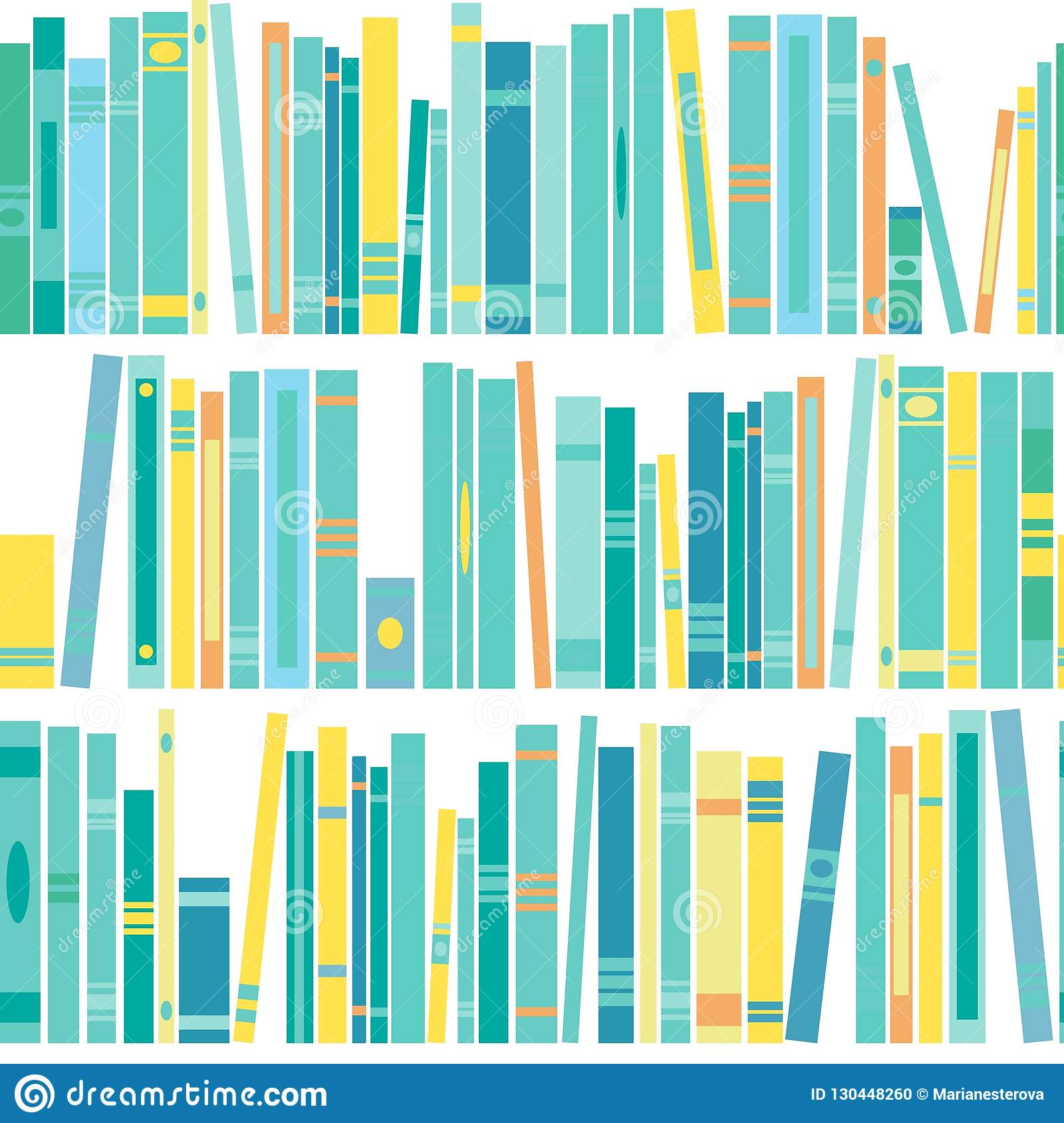 Seamless Pattern With Shelf Of Books On White Background