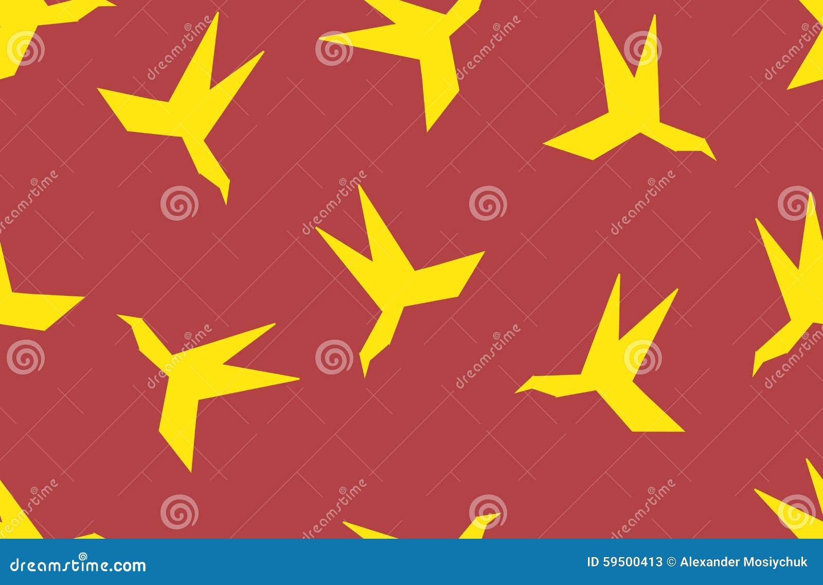 Seamless Pattern Silhouette Of Paper Origami Bird. Stock ... - photo#9