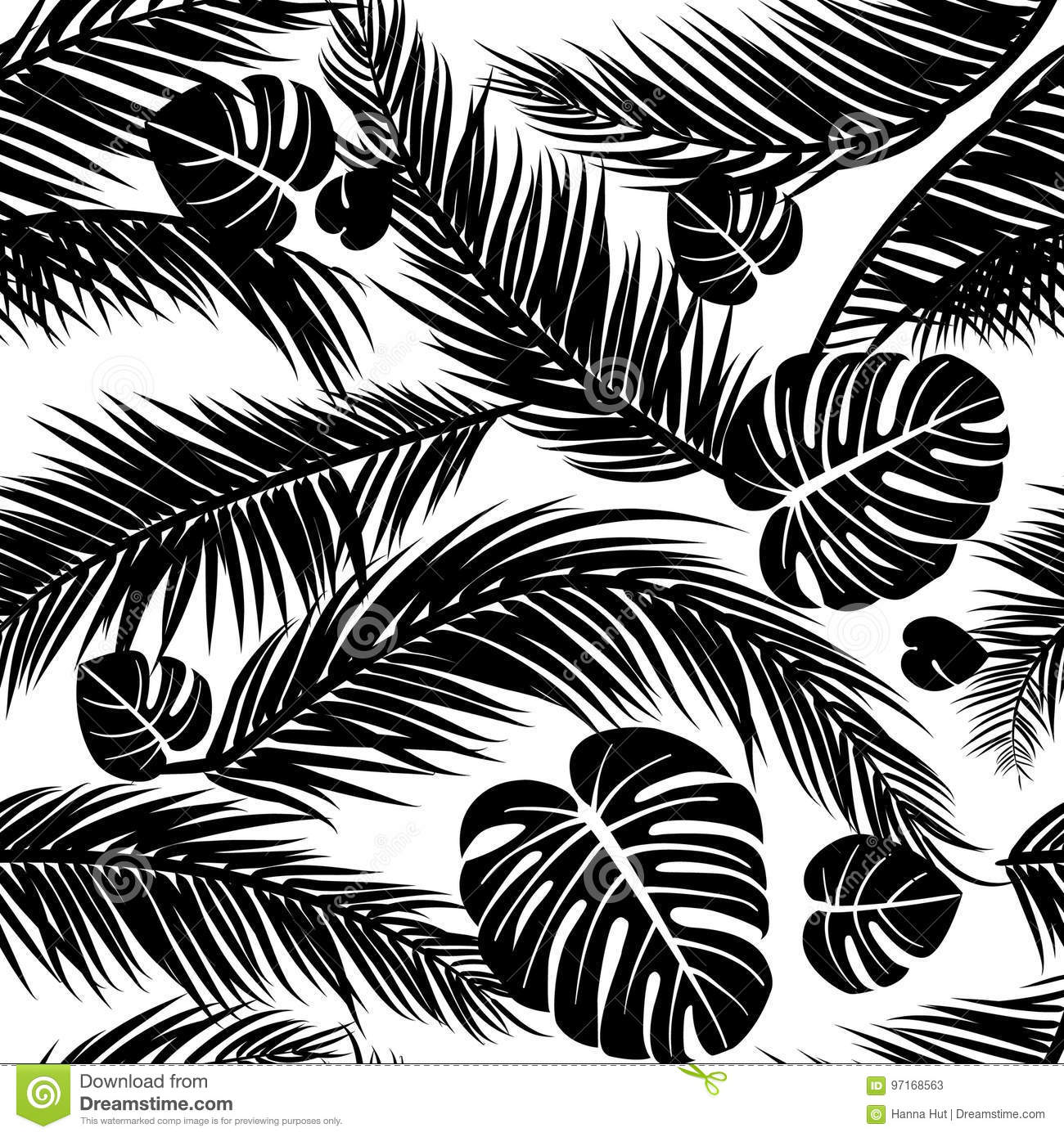 Seamless Pattern With Silhouettes Of Palm Tree Leaves In Black On