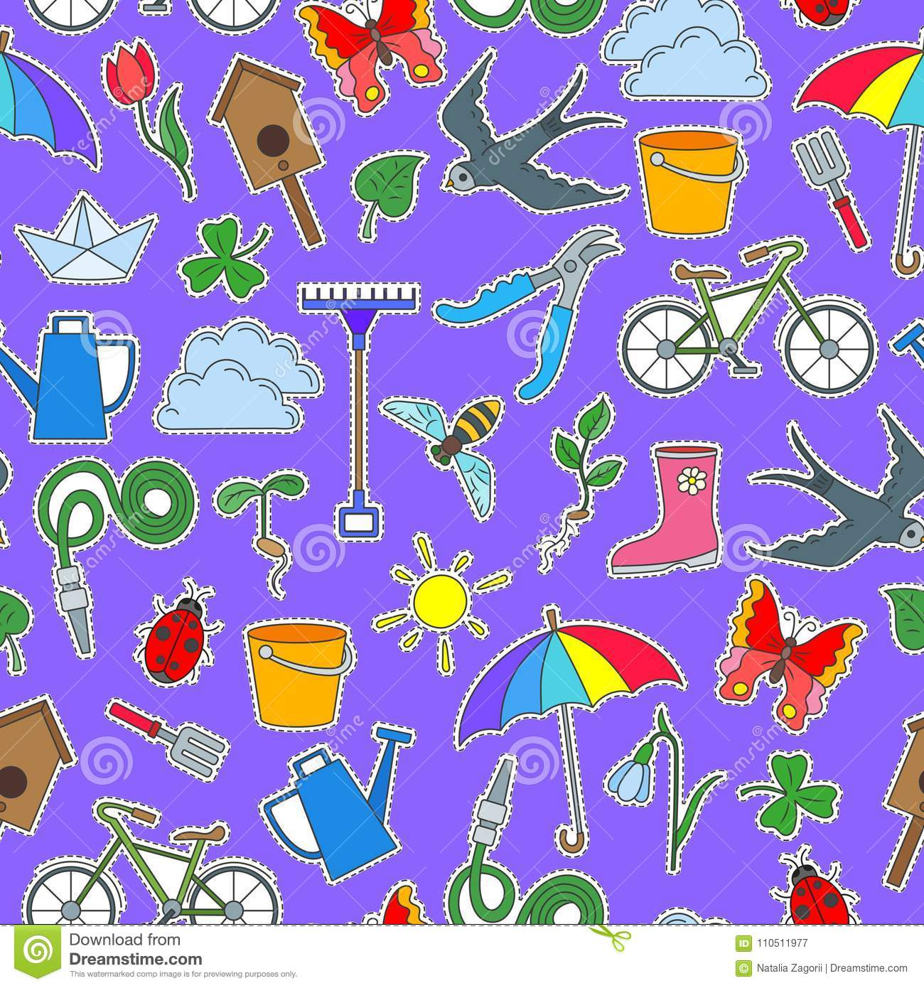 seamless illustration with simple icons on a theme of spring rh dreamstime com