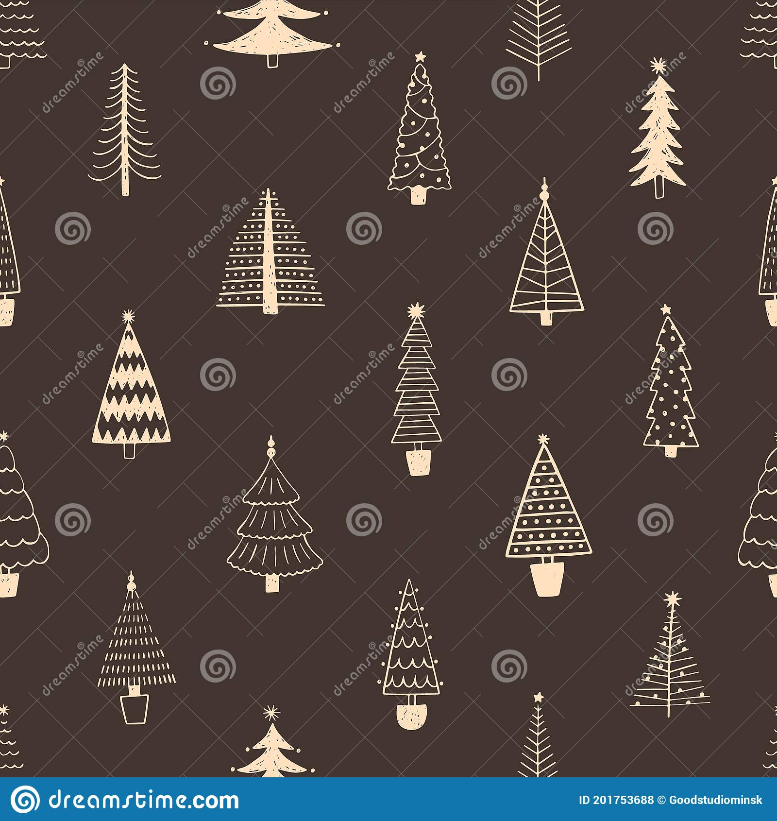 Seamless Pattern With Simple Minimalist Christmas Trees Decorated With Stars And Garlands Doodle Holiday Fir For Stock Vector Illustration Of Decorated Firtree 201753688