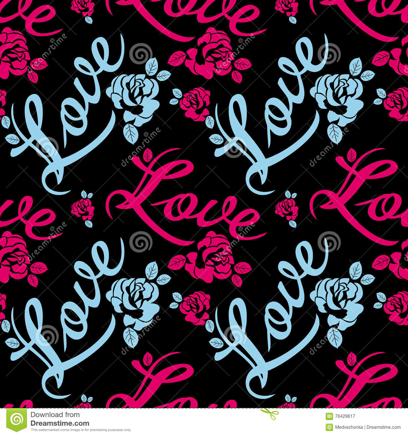 Royalty Free Il Ration Download Seamless Pattern With Single Word Love And Roses Silhouettes Stock Il Ration
