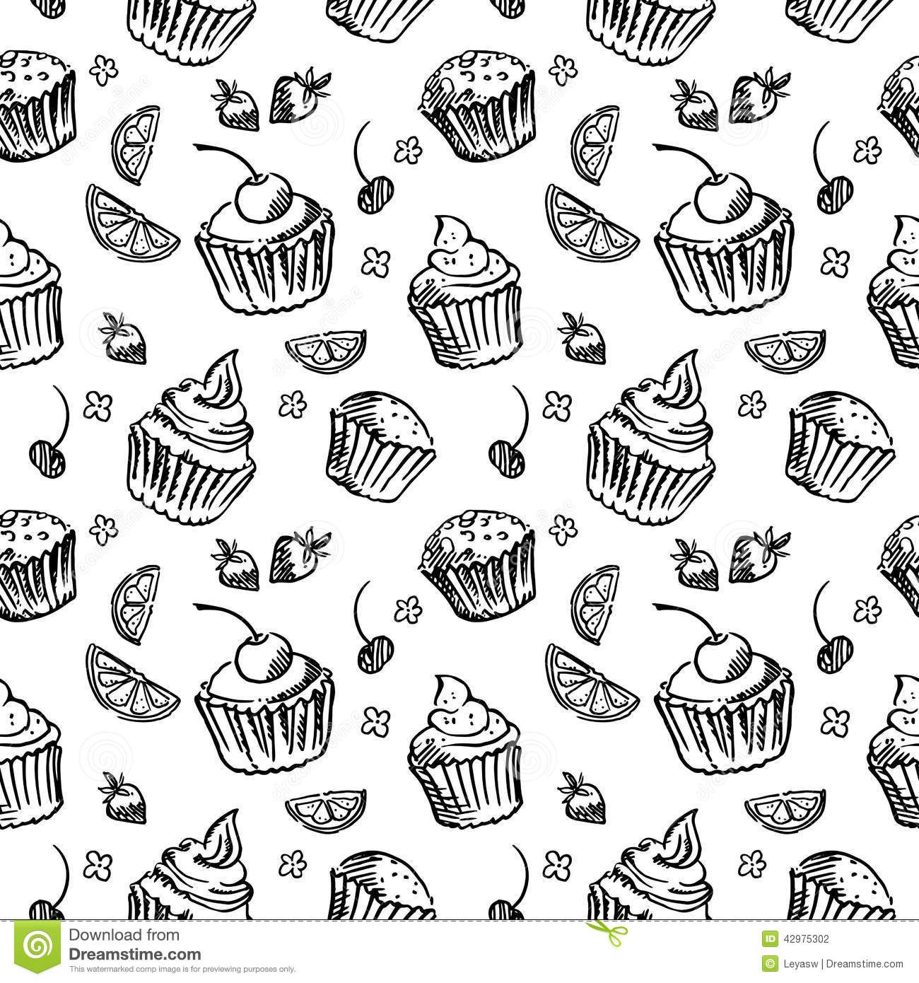 Seamless Pattern Sketch Cupcake. Black And White Stock