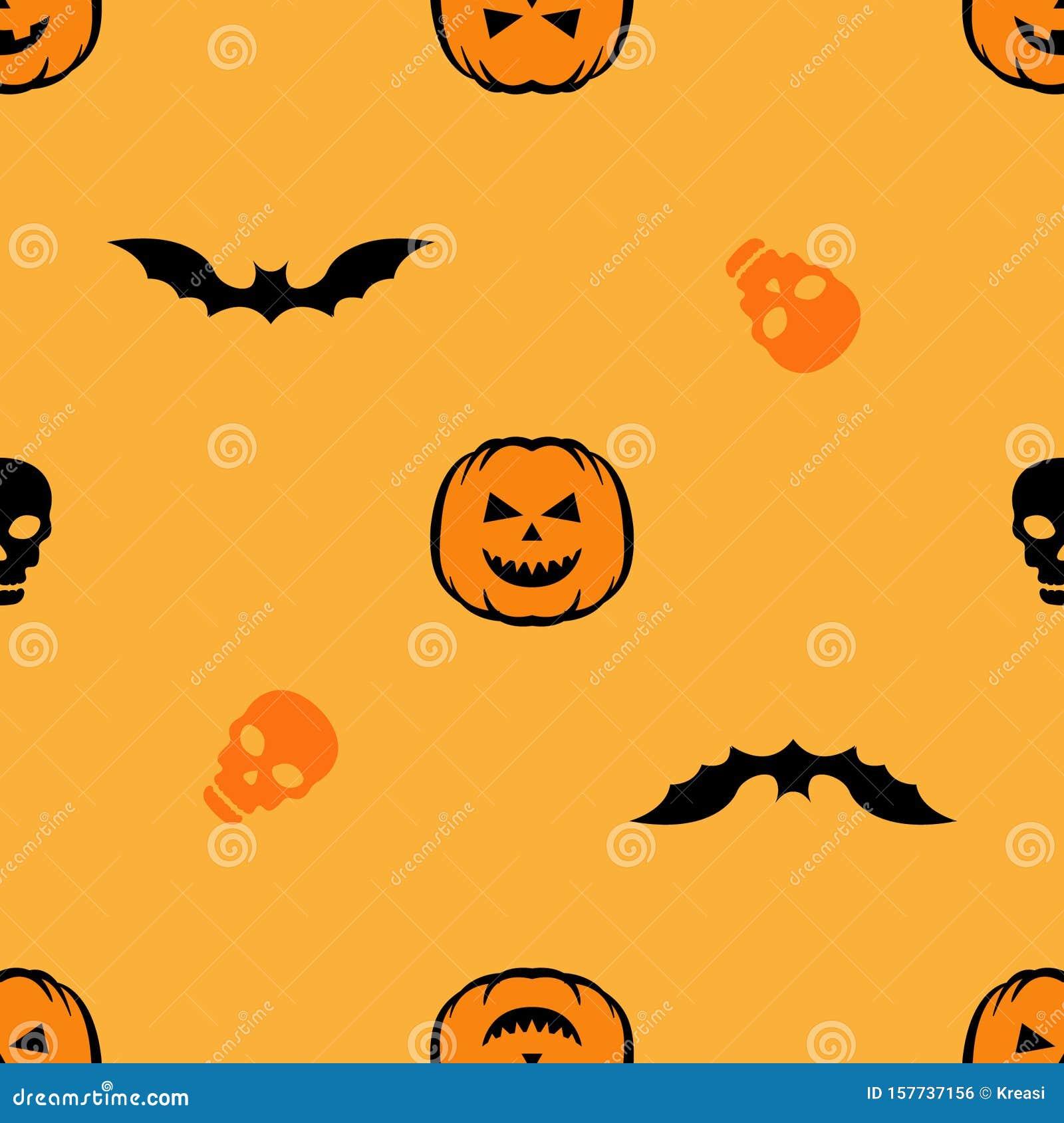 Seamless Pattern With Skull Bat And Pumpkin Halloween