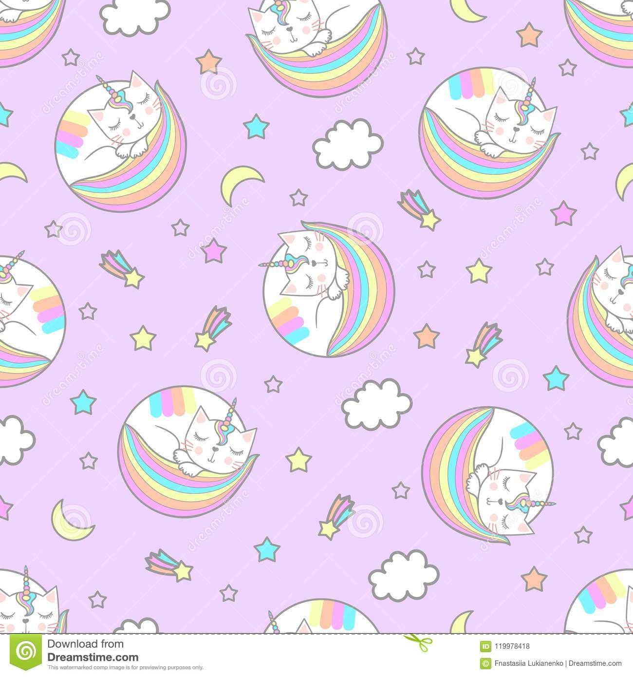 Seamless Pattern A Sleeping Cat With A Unicorn Horn Stock Vector