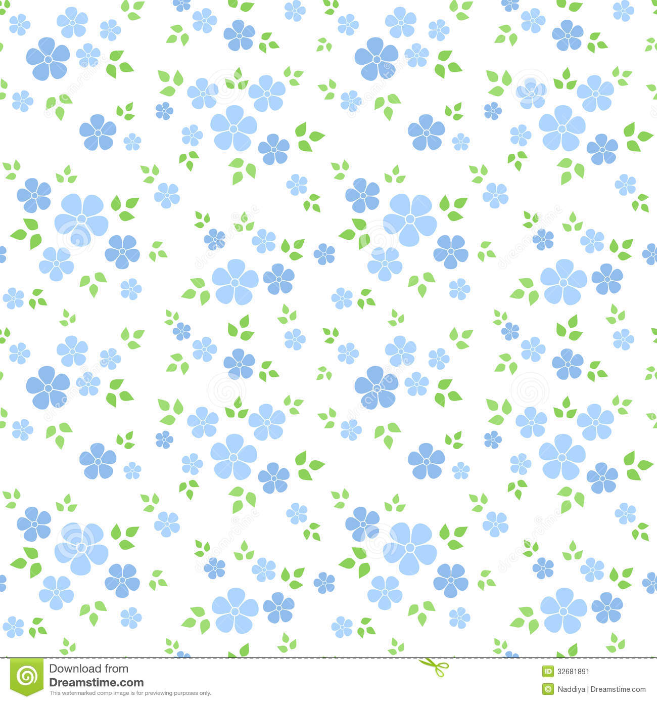 Seamless Pattern With Small Blue Flowers Vector I Stock Vector Illustration Of Floret Bloom 32681891