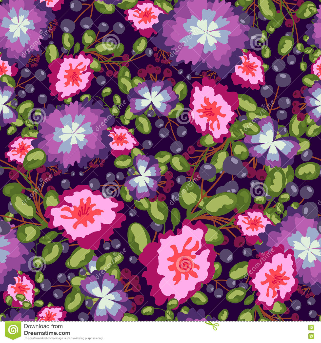 Seamless Pattern Of Small Bouquets Pink And Blue Flowers Violet