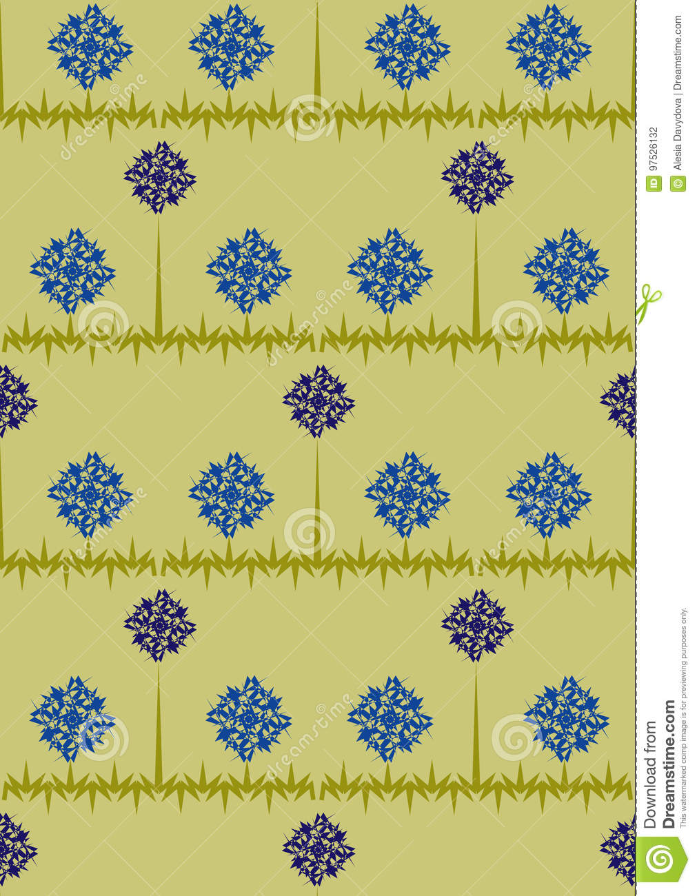 Seamless pattern with small daisies and cornflowers on a Blue background with strips.Blue and white flowers.Summer illustr