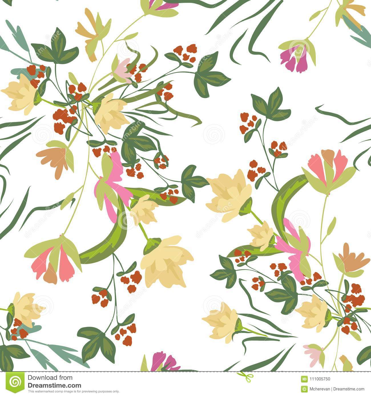 Seamless Pattern With Small Flowers On A Dark Background Stock