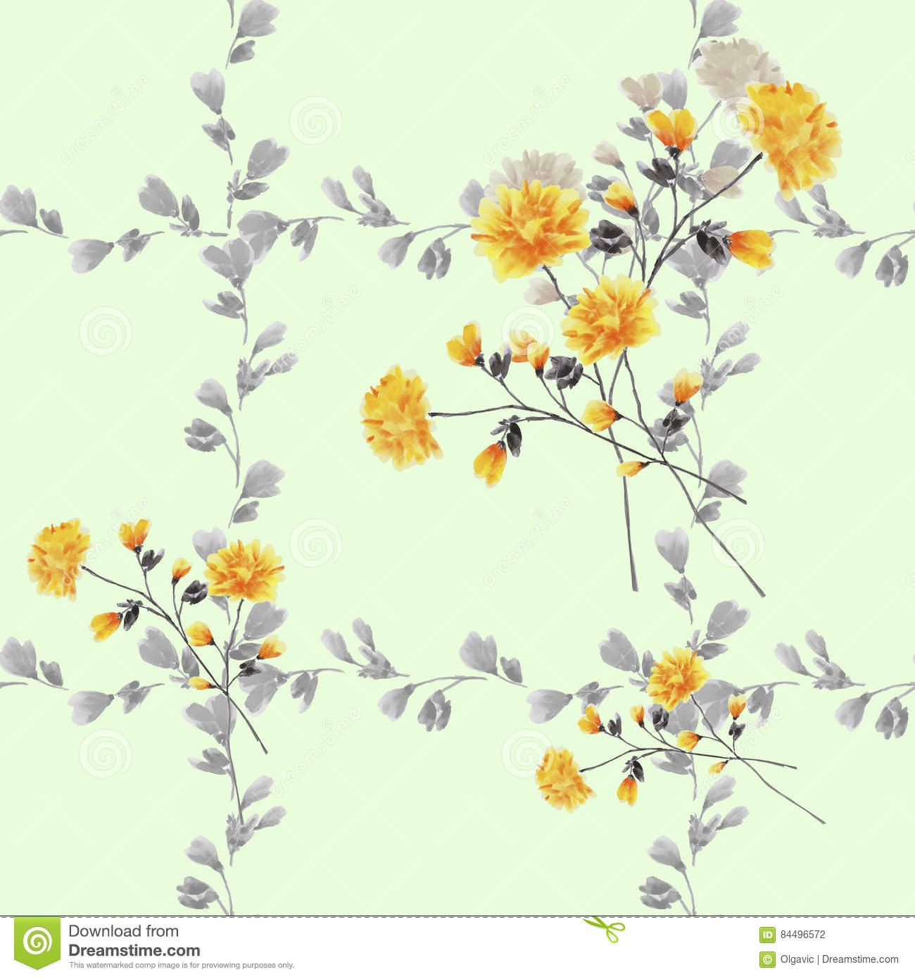 Seamless Pattern Small Yellow Flowers And Bouquets And Gray Branches