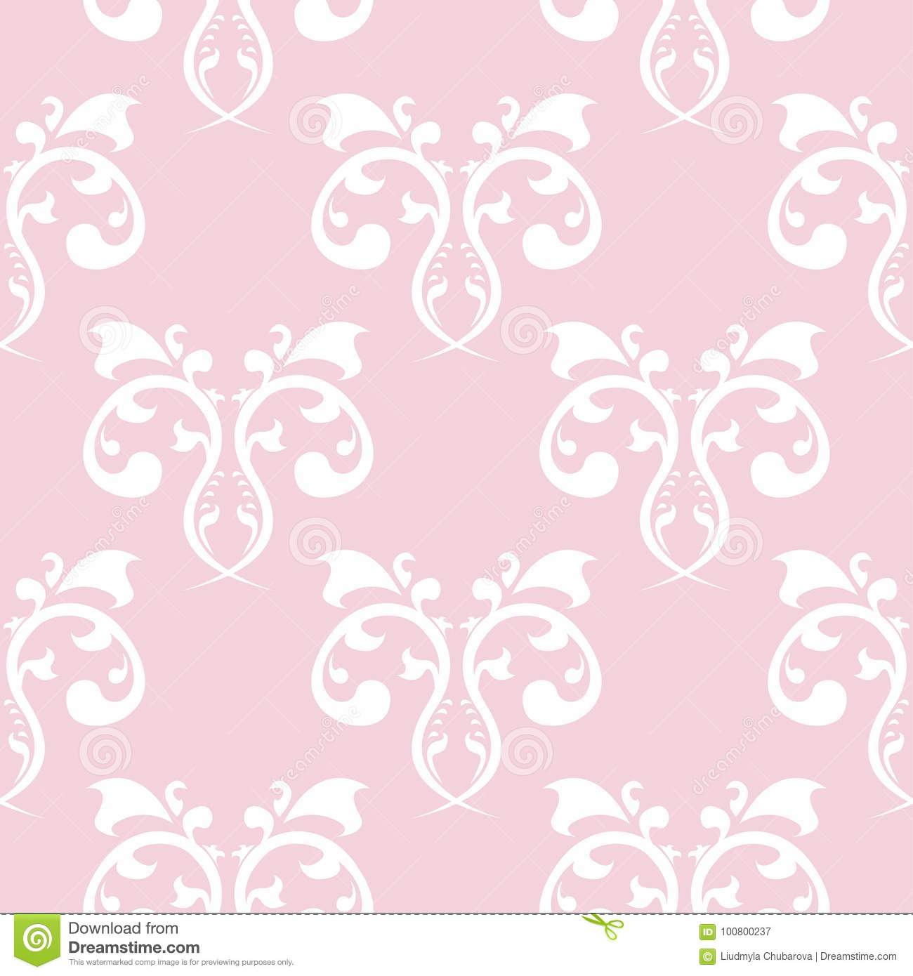 Seamless Pattern With Soft Pink Floral Ornaments Stock Vector