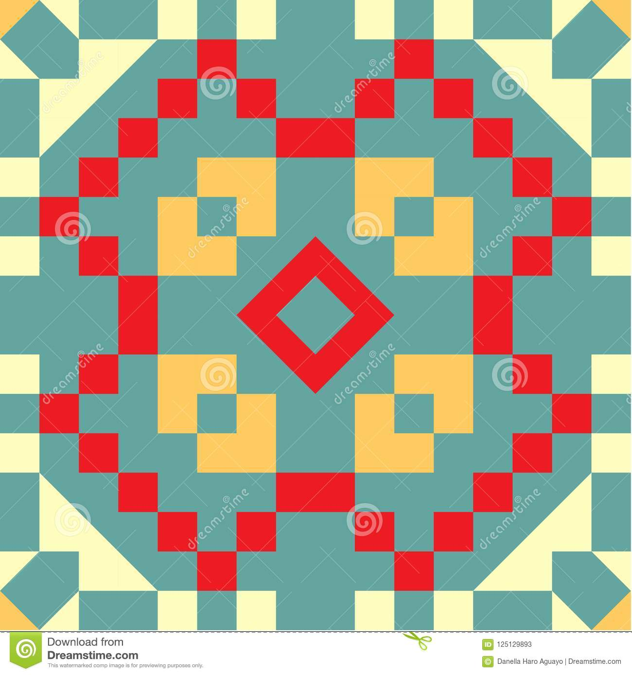 Seamless Pattern Spanish Tile Yellows Red And Teal Stock ...
