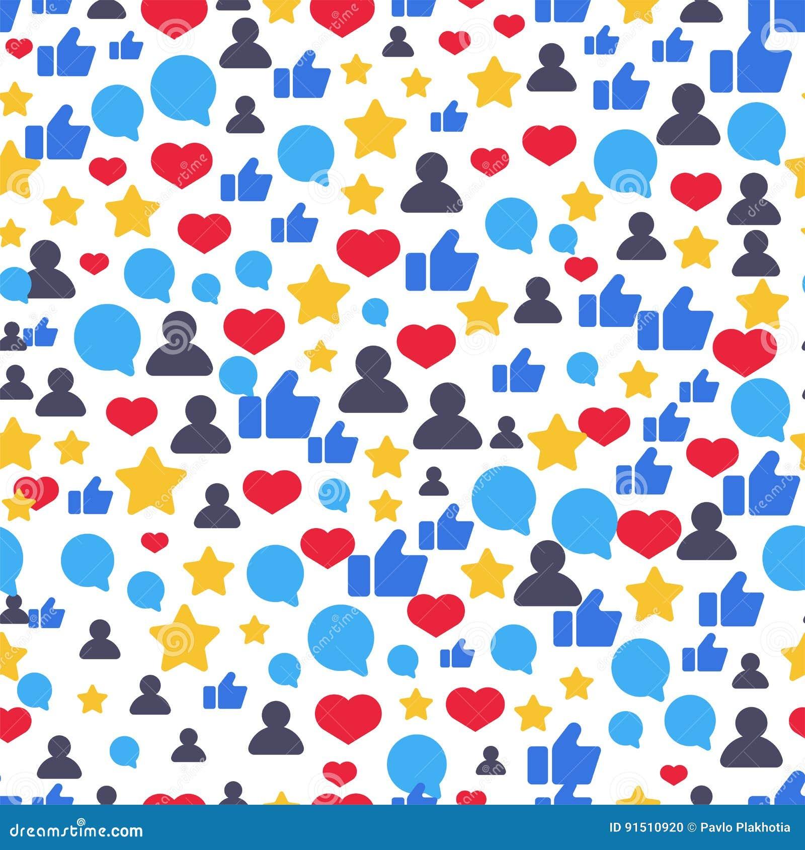 Seamless Pattern With Speech Bubbles, Likes, Followers Symbols