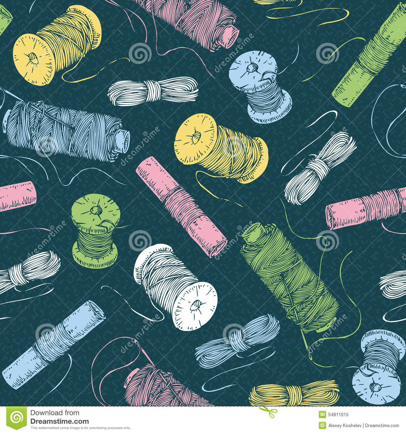 Seamless pattern with spools of thread stock vector for Thread pool design pattern