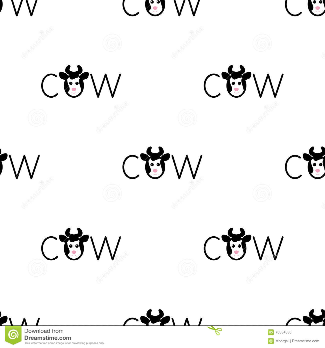 Seamless pattern with spotted cow
