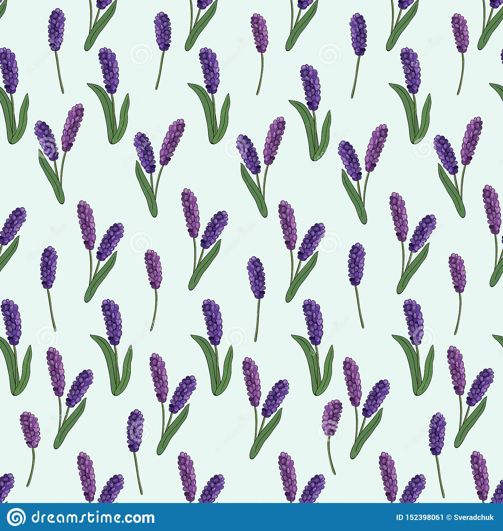 Seamless pattern of spring flowers on a blue background. Vector