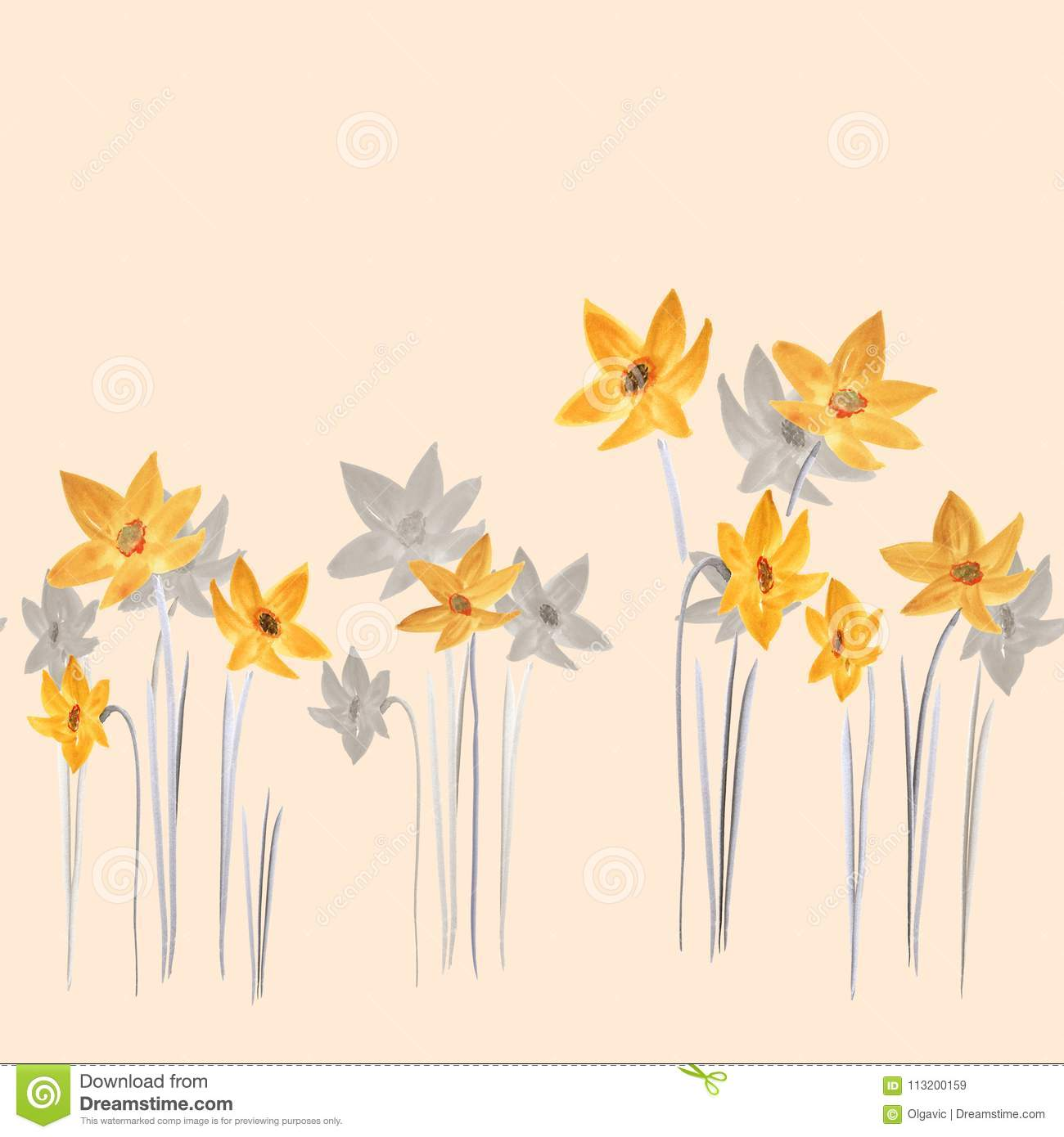Seamless Pattern Of Spring Yellow And Gray Flowers On A Light Beige