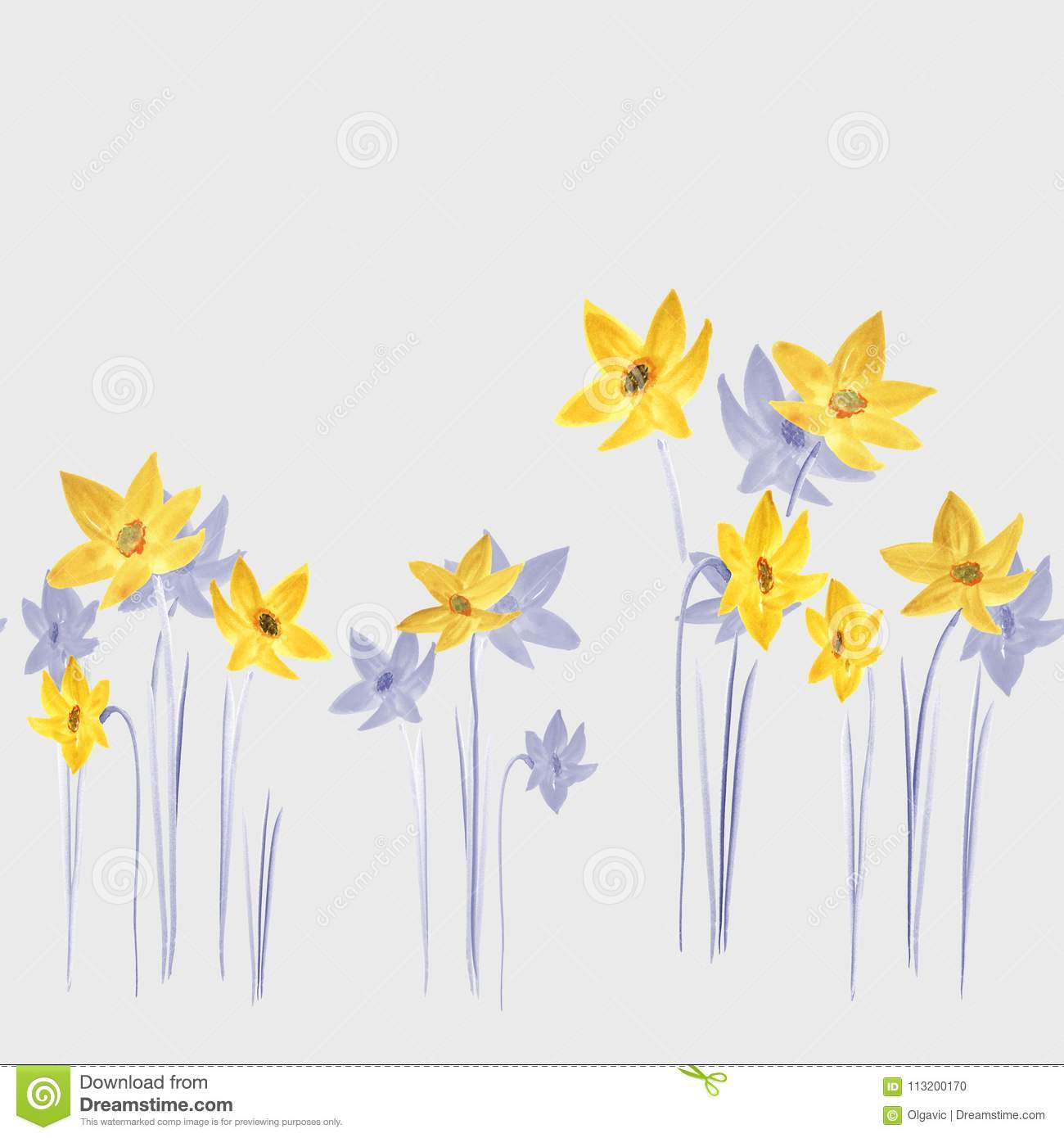 Seamless Pattern Of Spring Yellow And Violet Flowers On A Light Gray