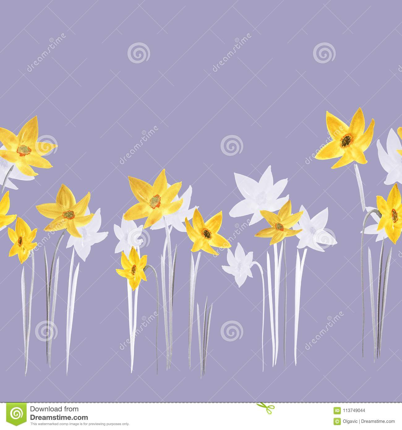 Seamless Pattern Of Spring Yellow And White Flowers Of Daffodils On