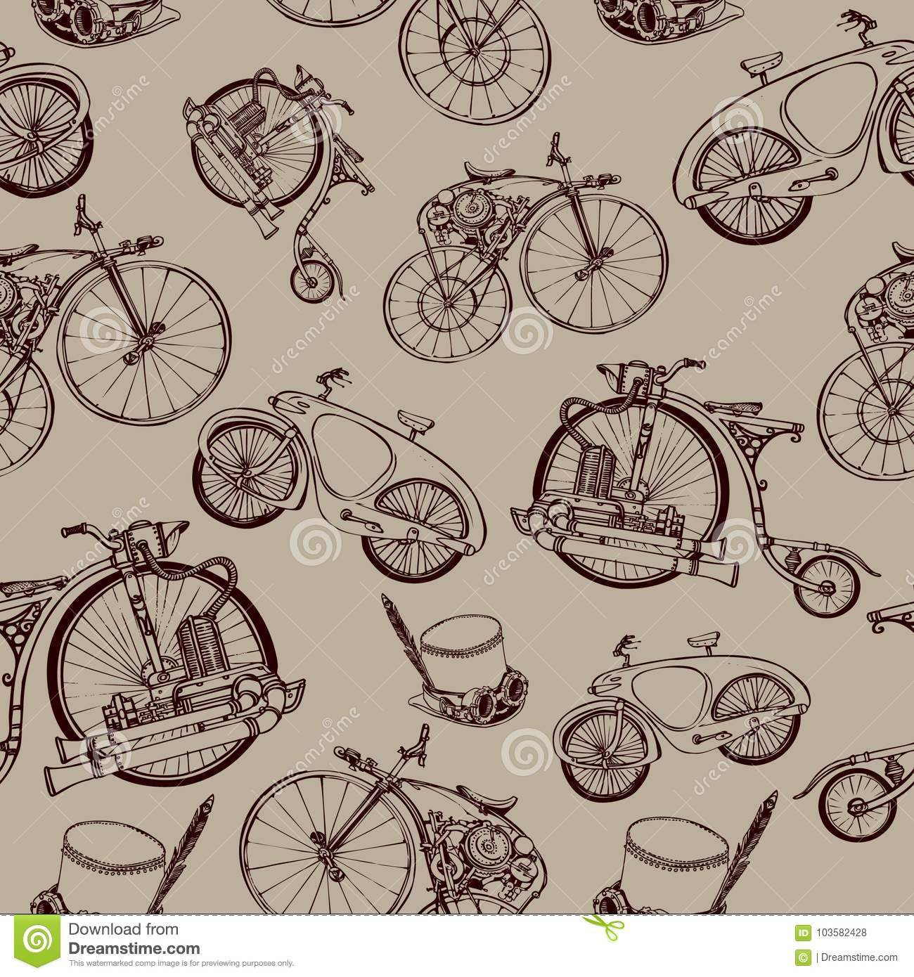 seamless pattern steampunk with old bicycle and cylinder hat stock