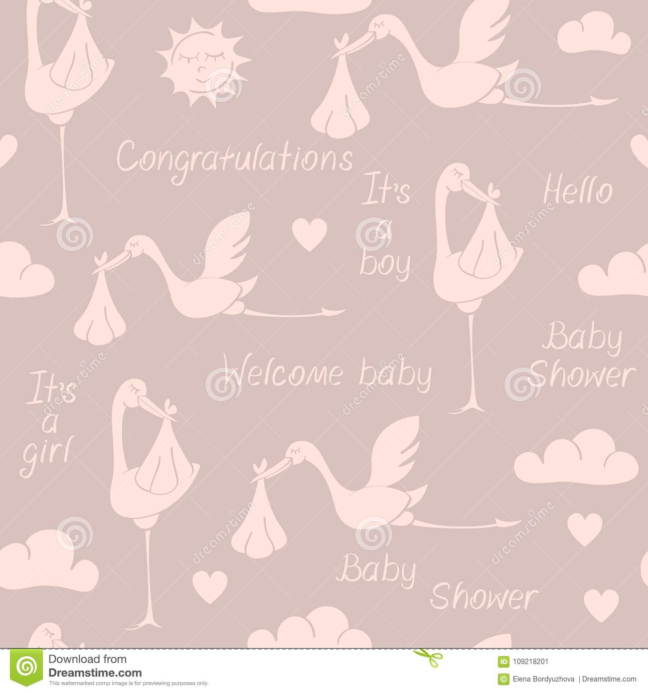seamless pattern with storks babies and phrases stock vector