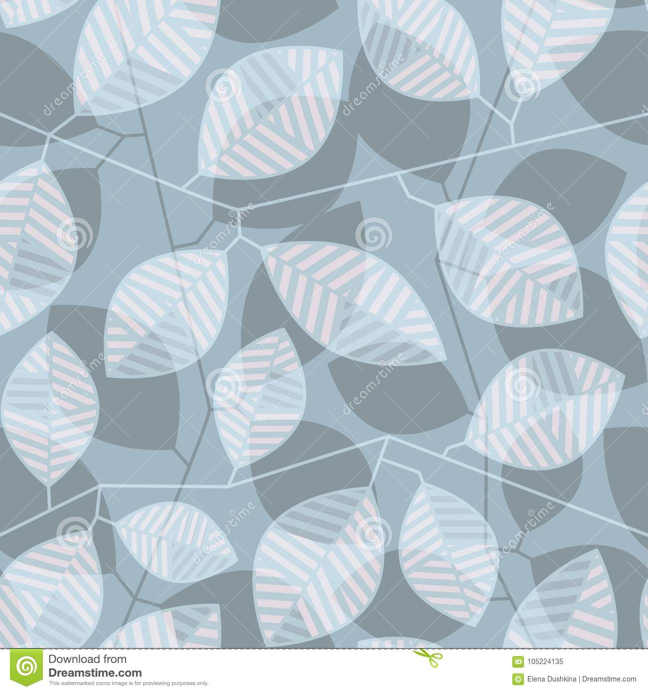 Seamless Pattern With Striped Leaves And Stems In Shades Of Gray Stock Vector Illustration Of Neutral Decoration 105224135