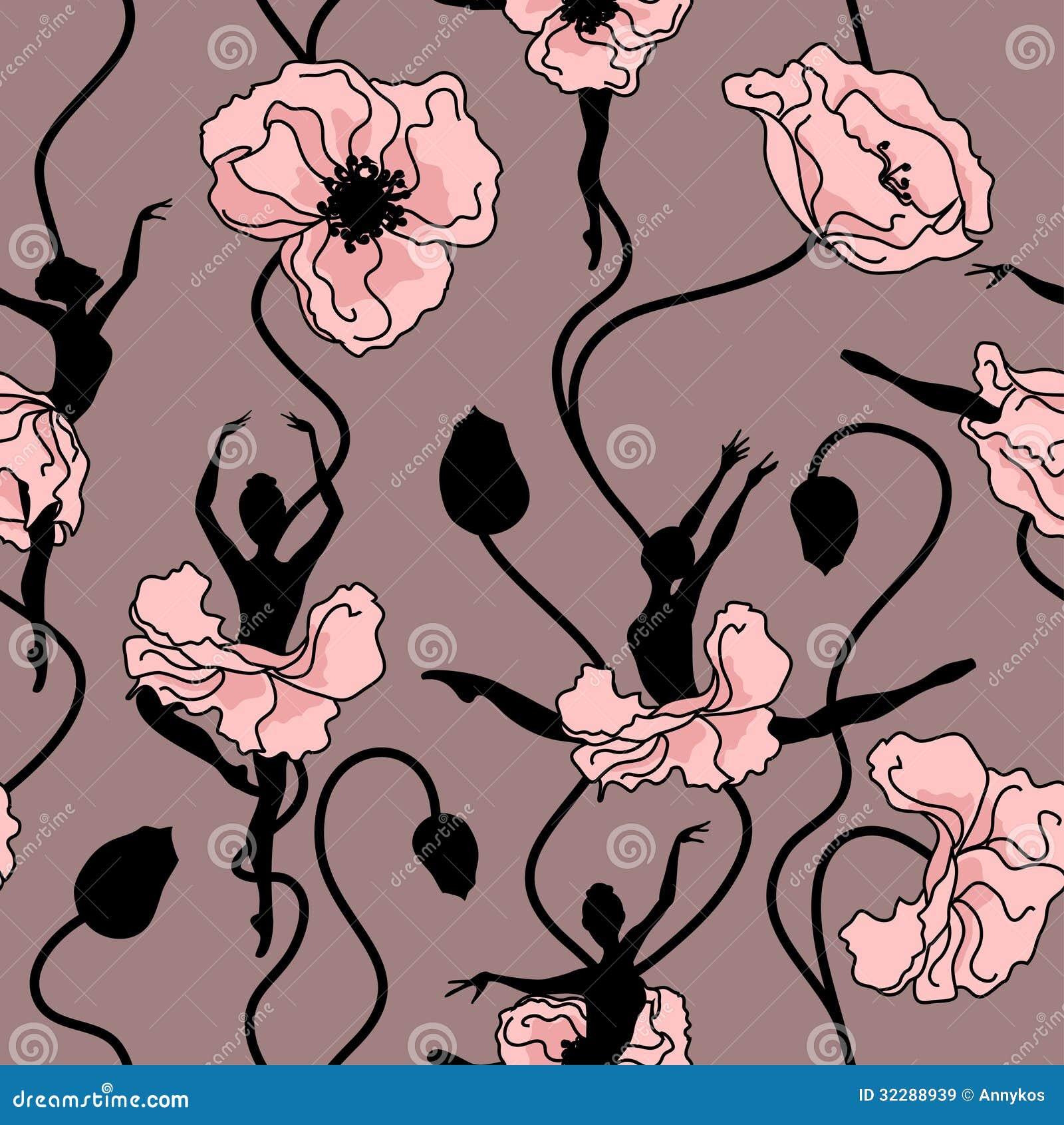 Seamless pattern of ballet dancers royalty free stock photography - Royalty Free Stock Photo Dance Pattern Seamless