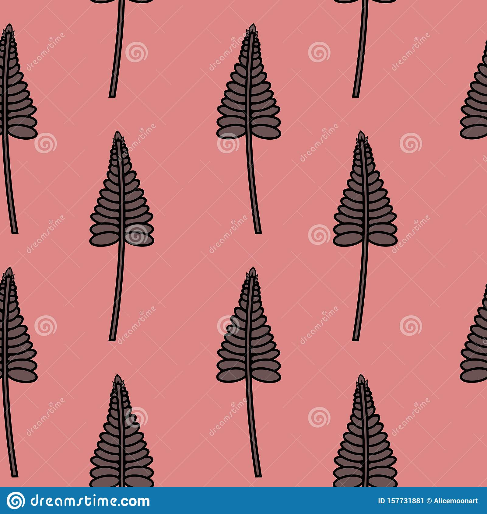 Seamless Pattern of Stylized Leaves on Pink background