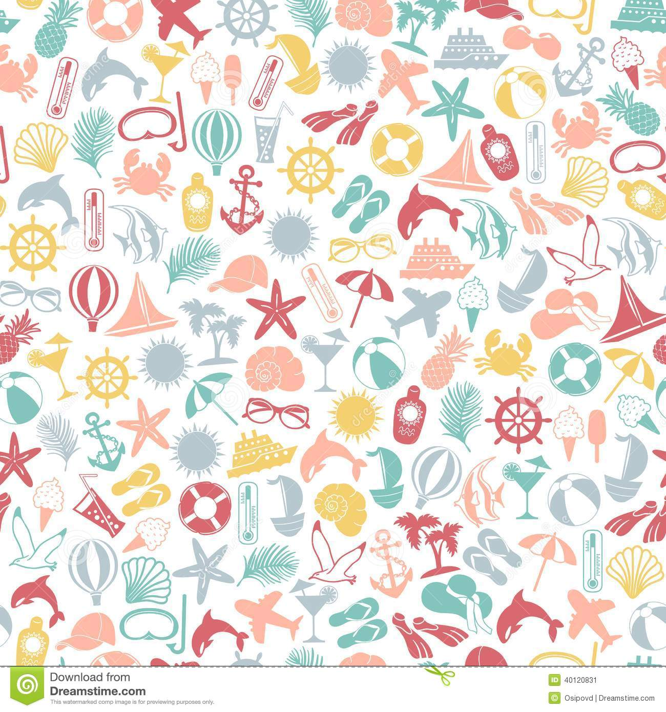Seamless Pattern Summer Travel Icons Cartoon Vector ...