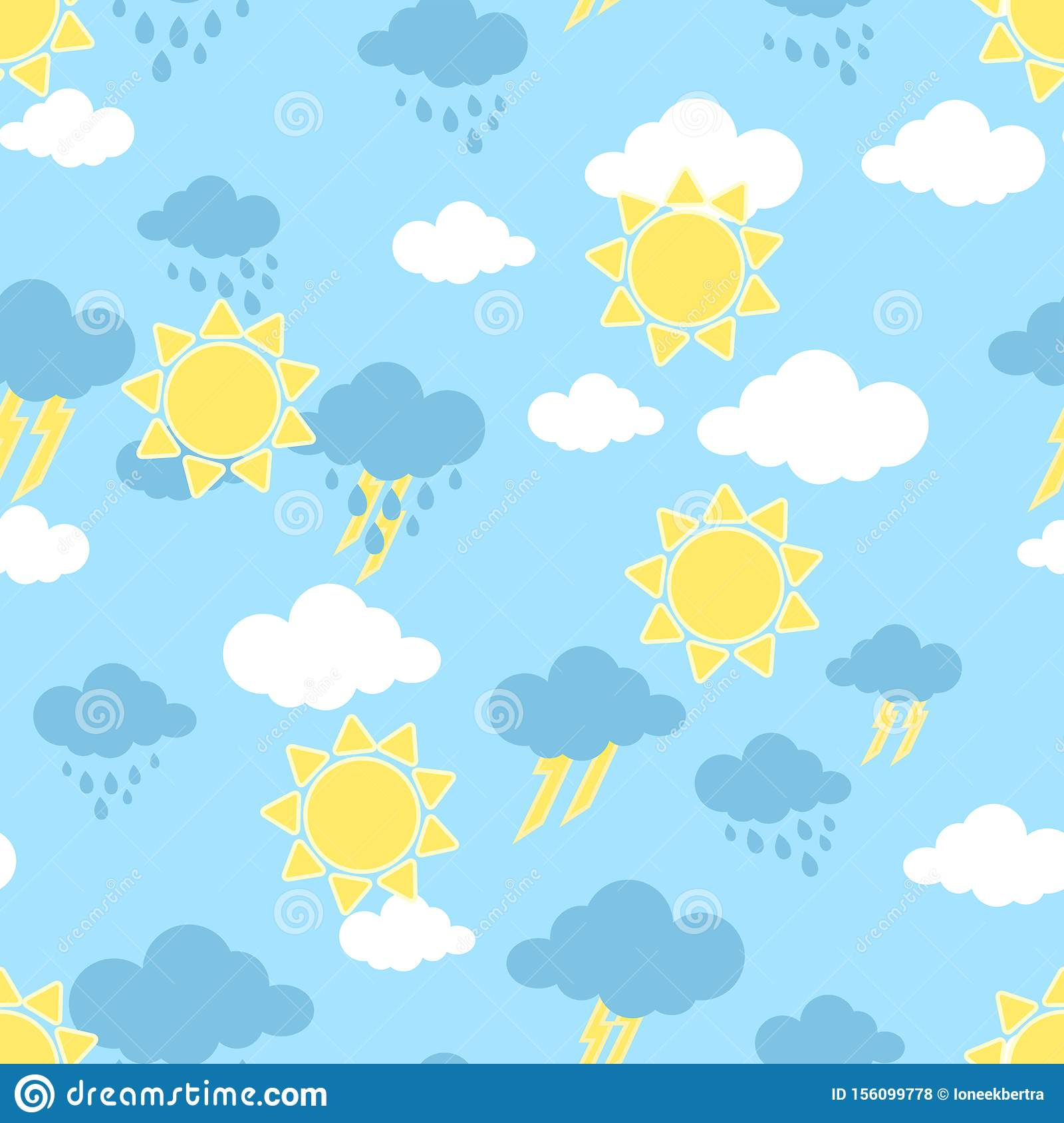 Seamless pattern with sun. clouds, rain and rainbow . Wallpaper for children room. Weather background