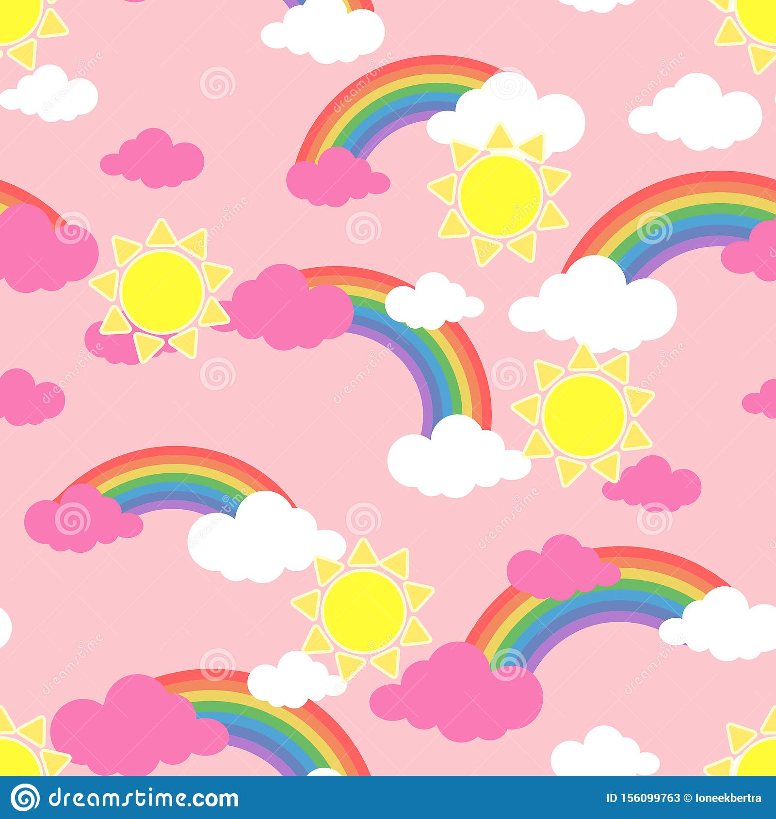 Seamless Pattern With Sun Clouds And Rainbow Wallpaper For