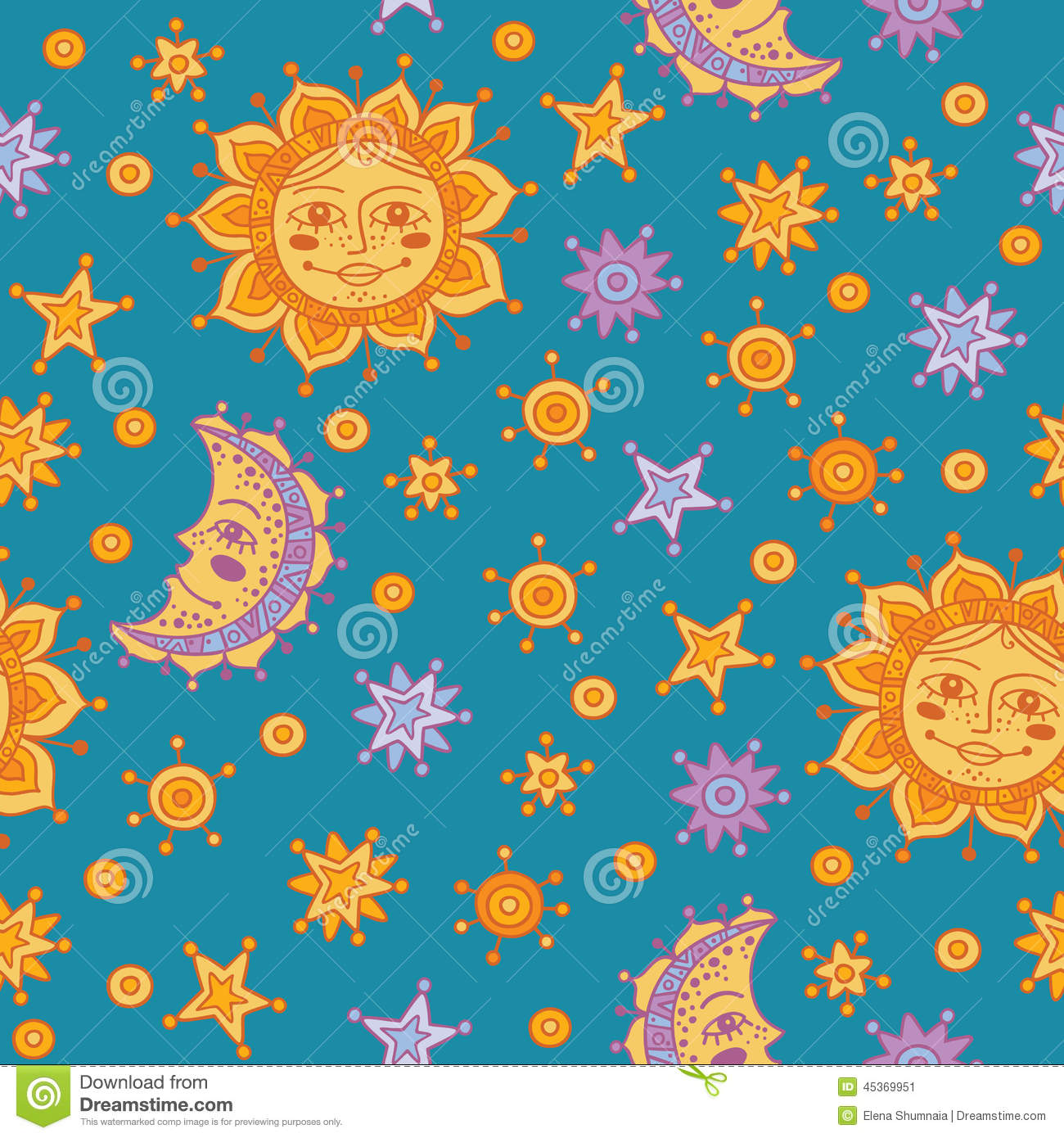 Seamless Pattern With Sun Moon And Stars Stock Vector