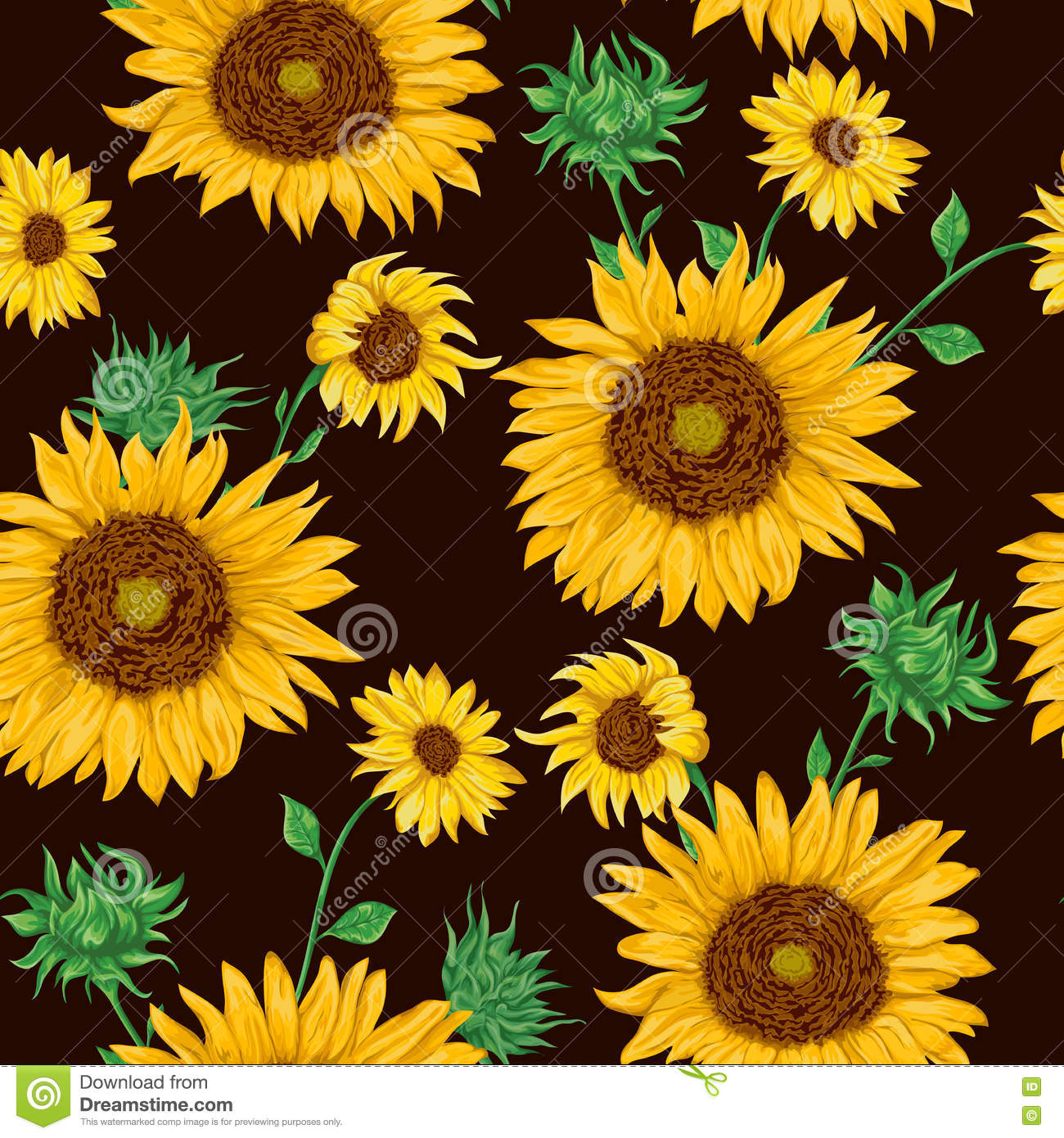 seamless pattern sunflowers black background collection decorative floral design elements flowers buds leaf vintage 80933041