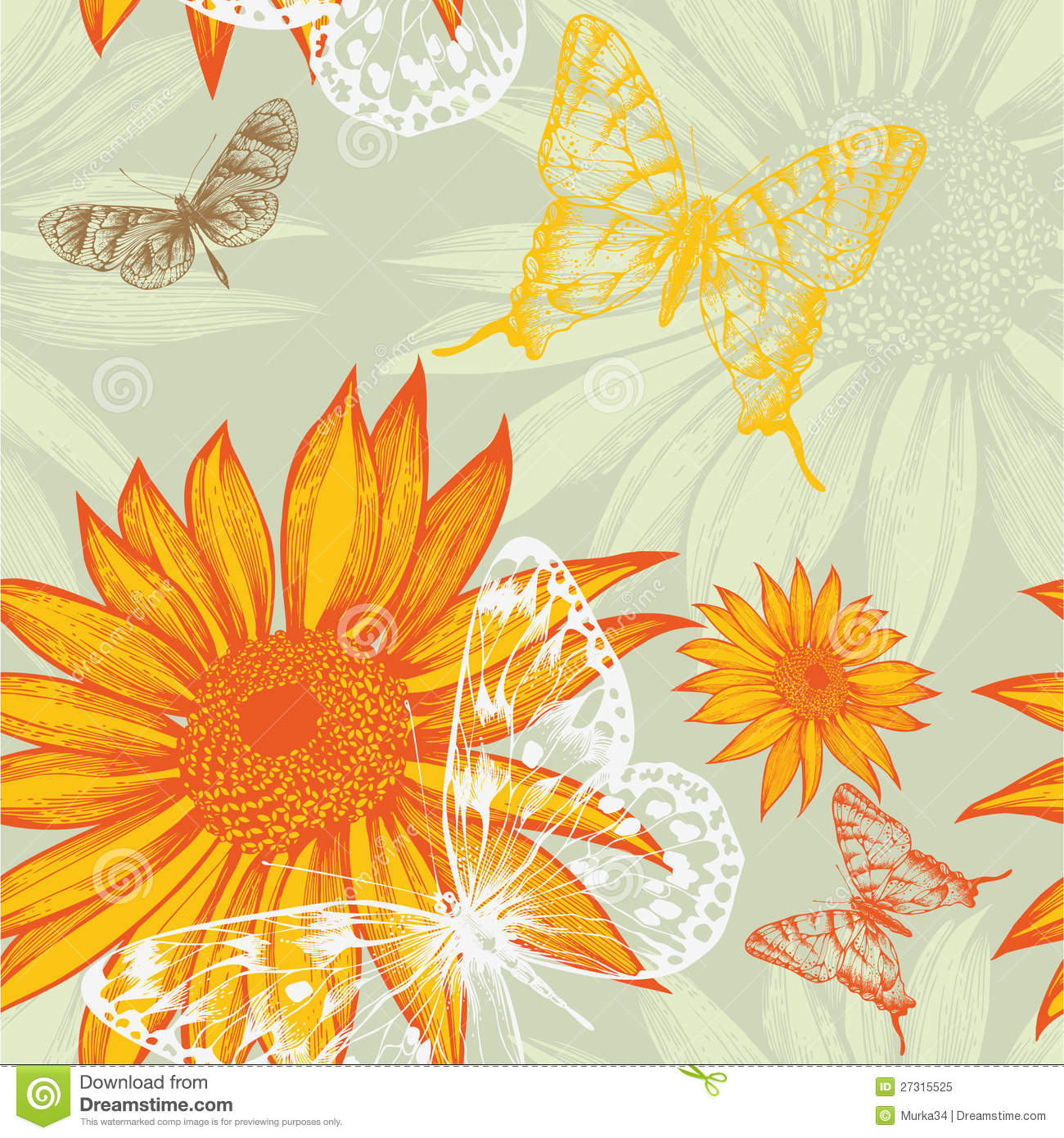 Seamless pattern with sunflowers and butterflies,