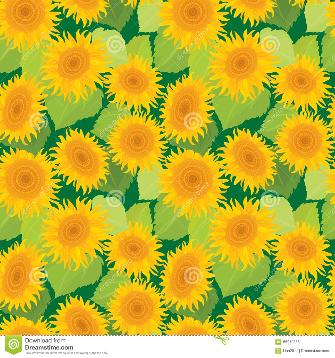 Seamless pattern with sunflowers. Summer season, nature background.