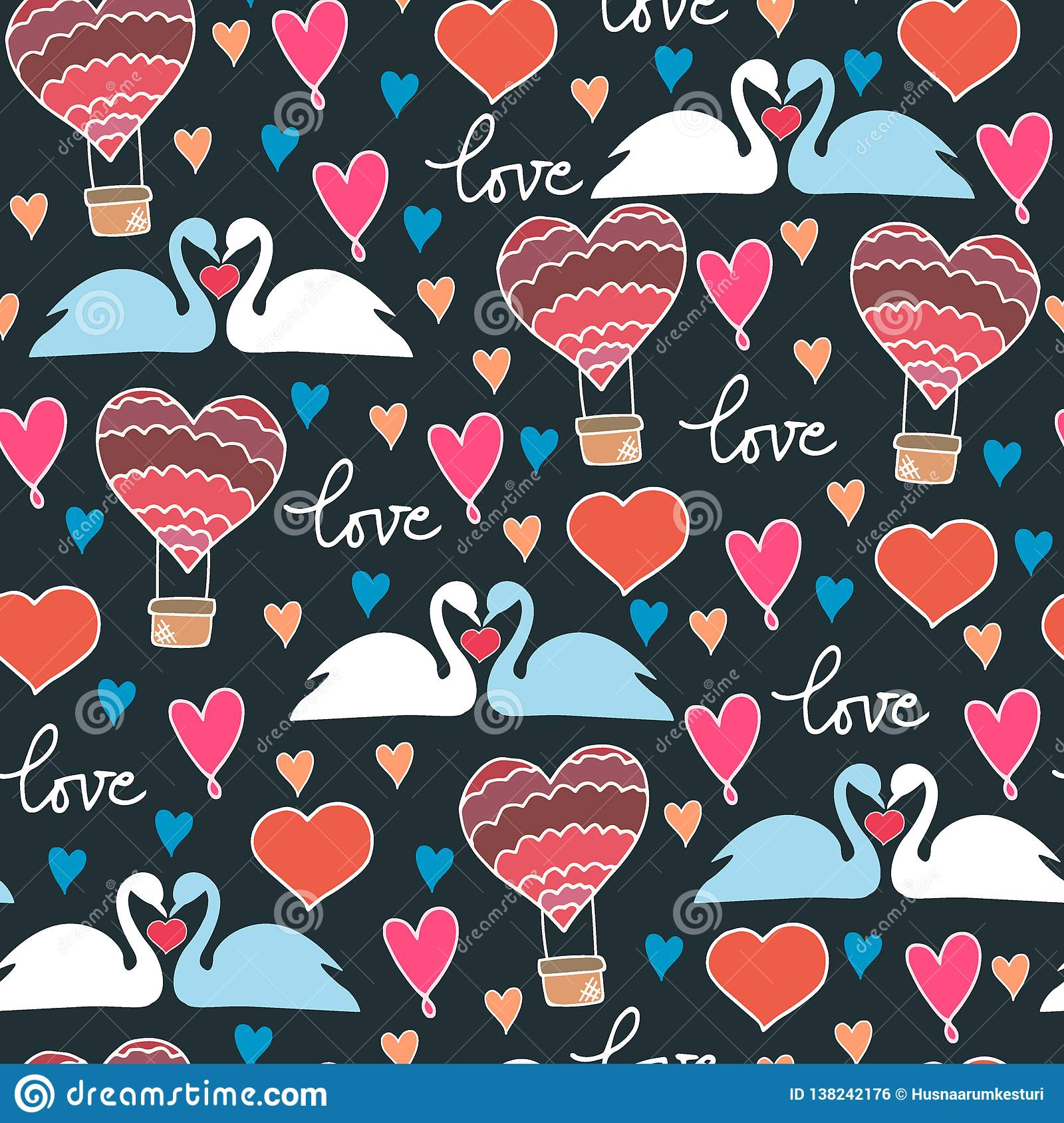 Seamless pattern with swans and hearts on blue background in vector