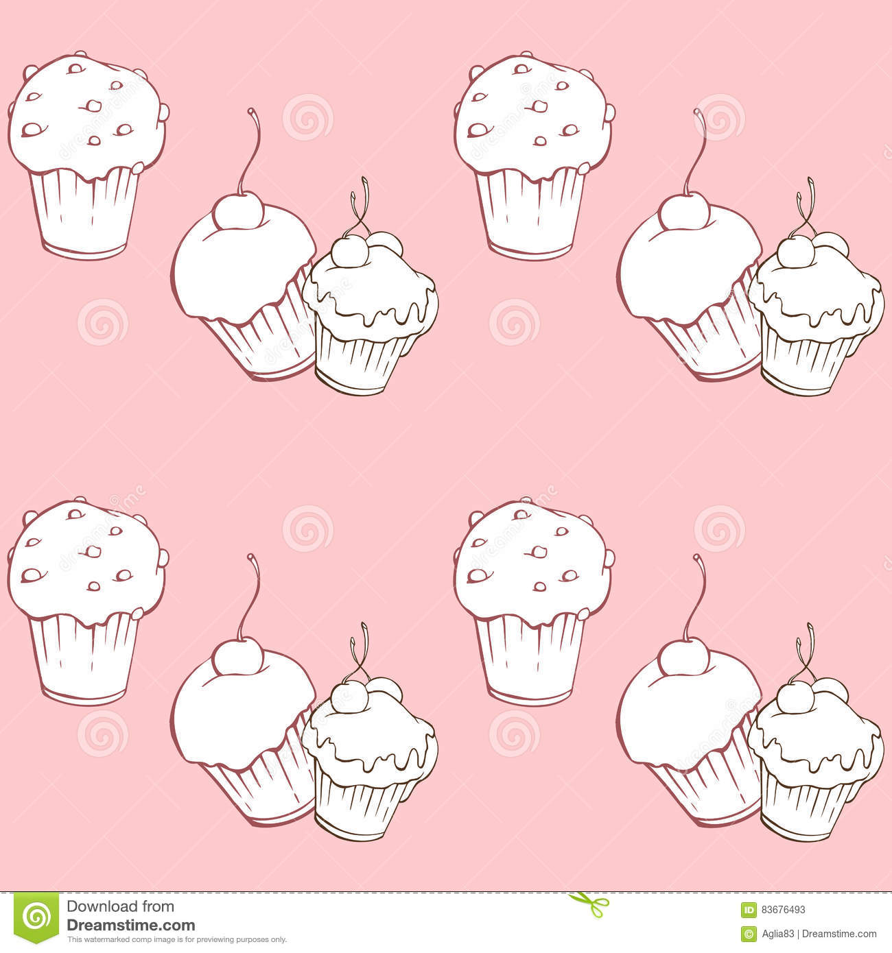 Seamless pattern with sweet cakes on pink background