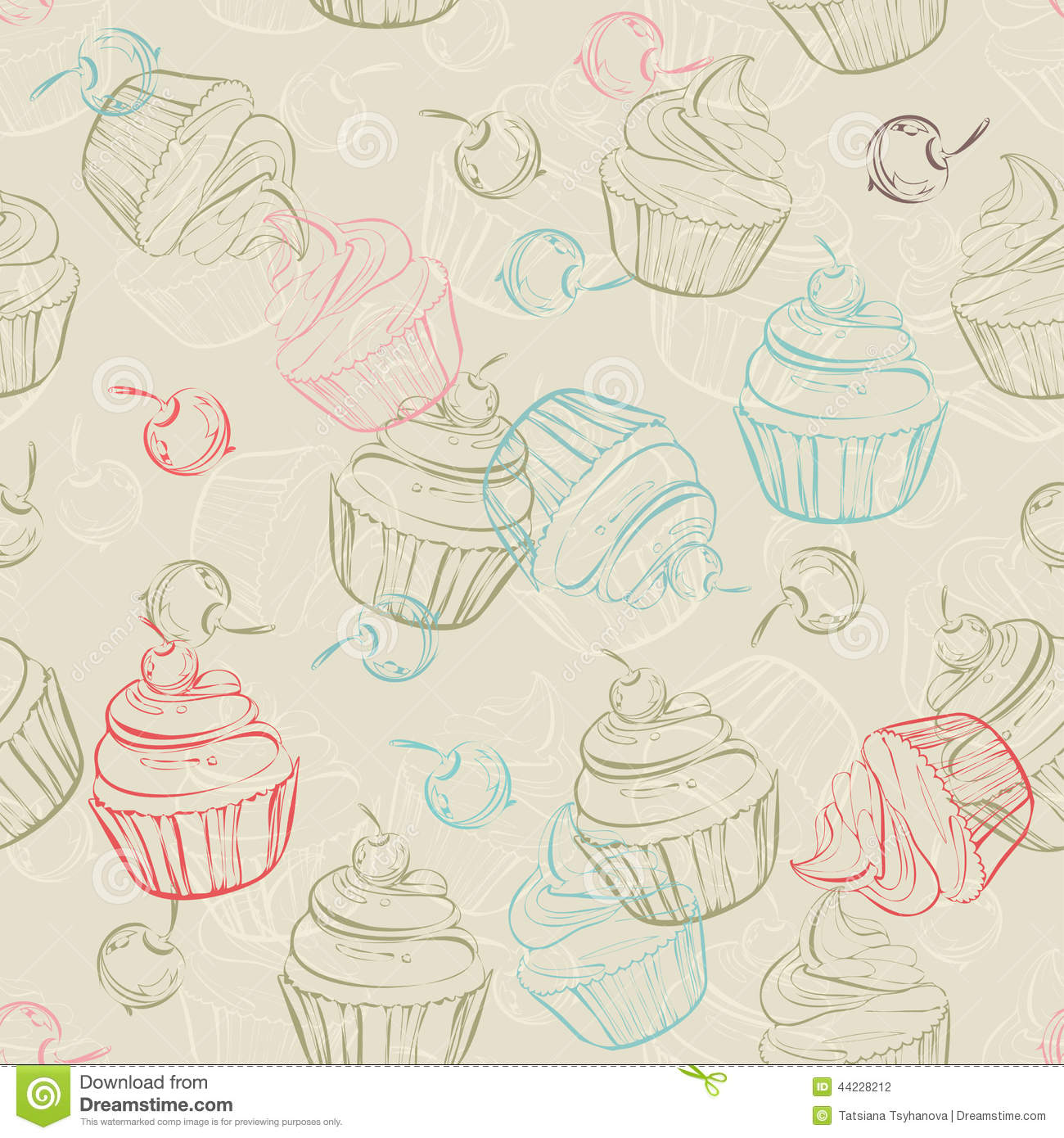 Seamless Pattern With Sweet Cupcakes And Berries In Vintage Style Wedding Background Retro Texture