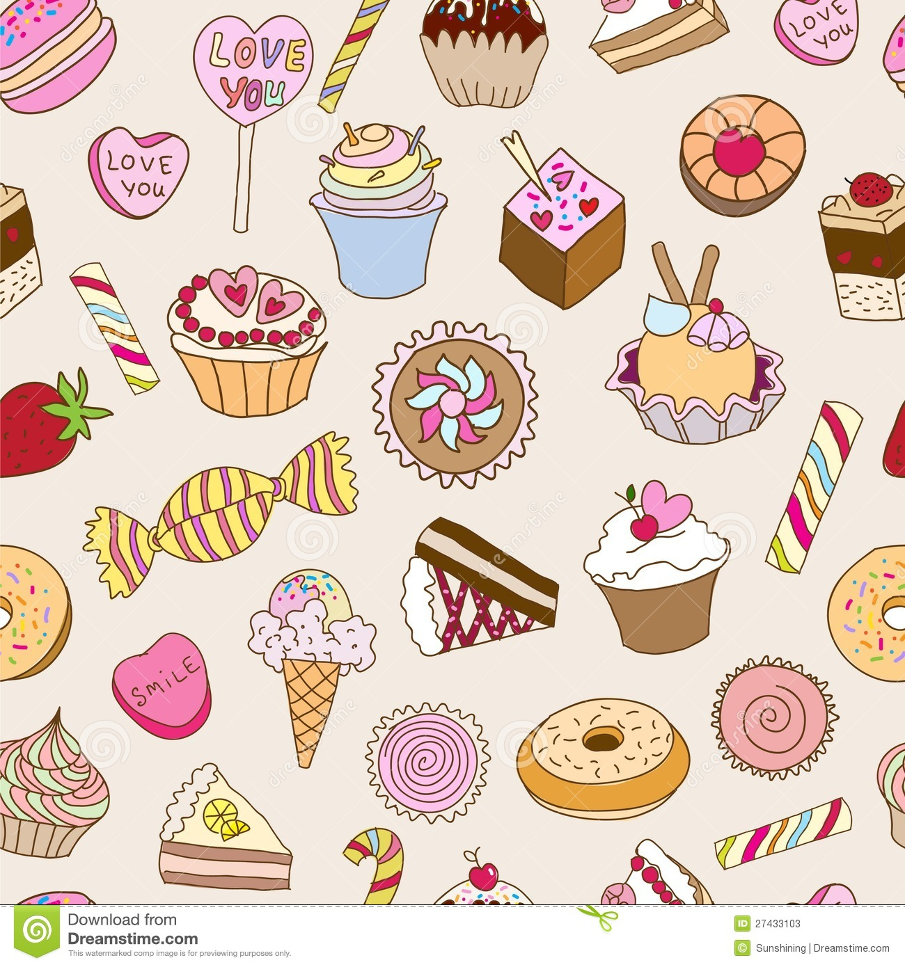 Seamless Pattern With Sweets Stock Vector Illustration