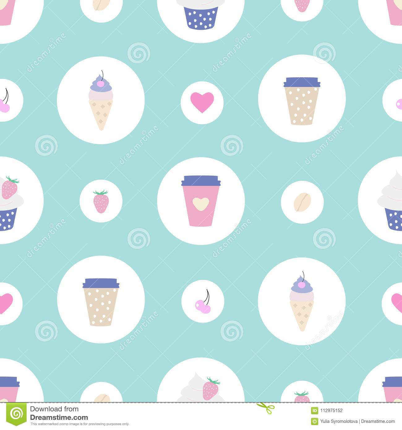 Seamless pattern with sweets and coffee
