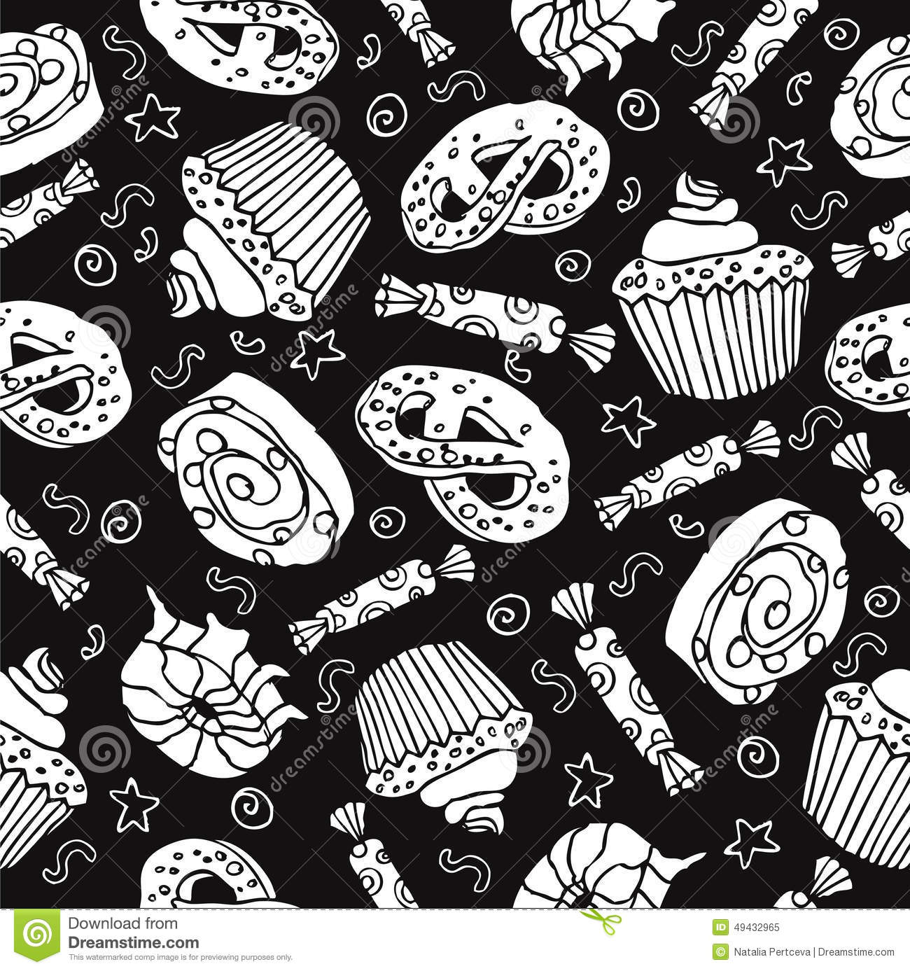 Seamless Pattern With Sweets And Desserts. Black ...