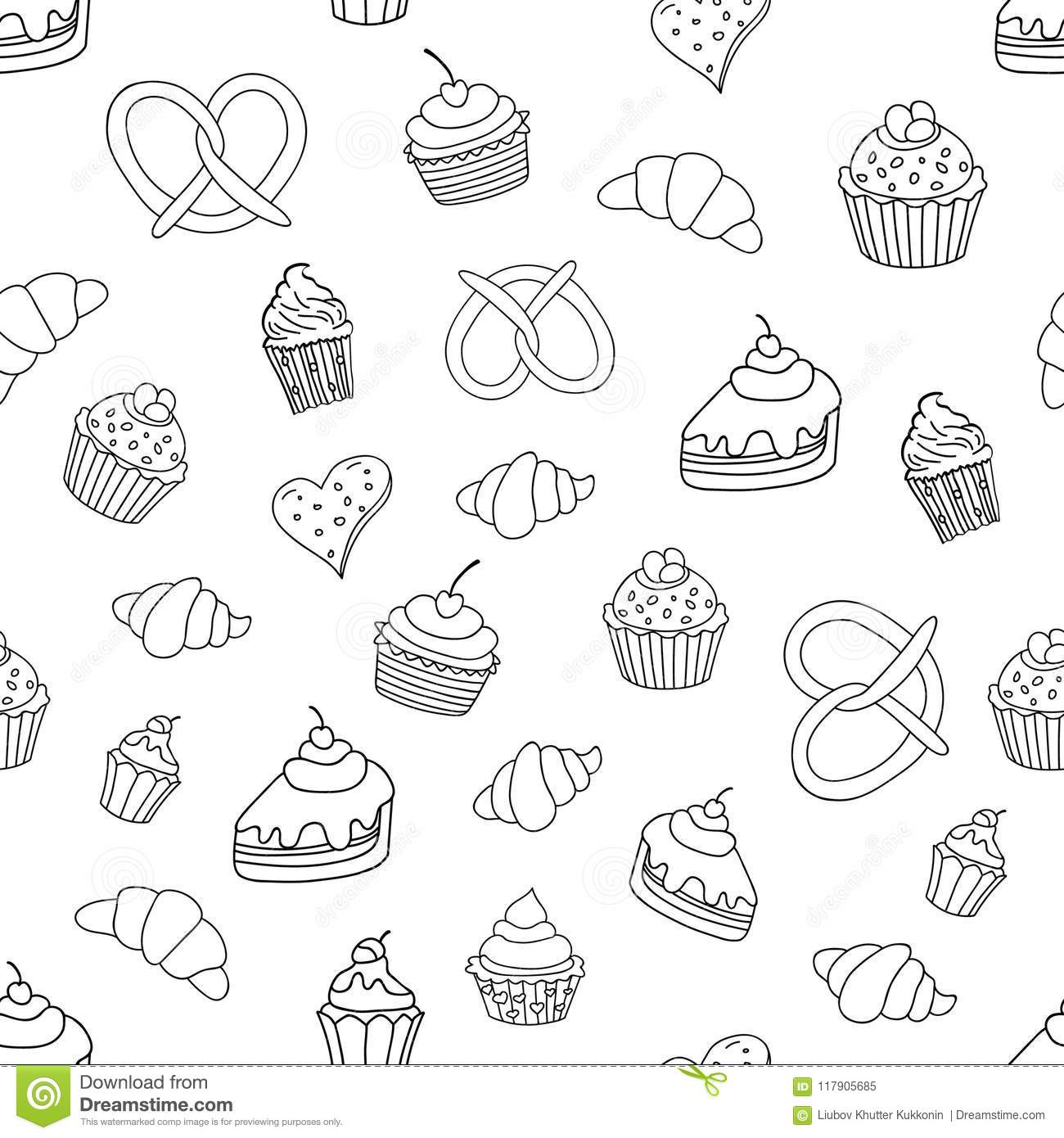 Seamless pattern with sweets, pies, cupcakes, ice cream, bakery products. Vector illustration