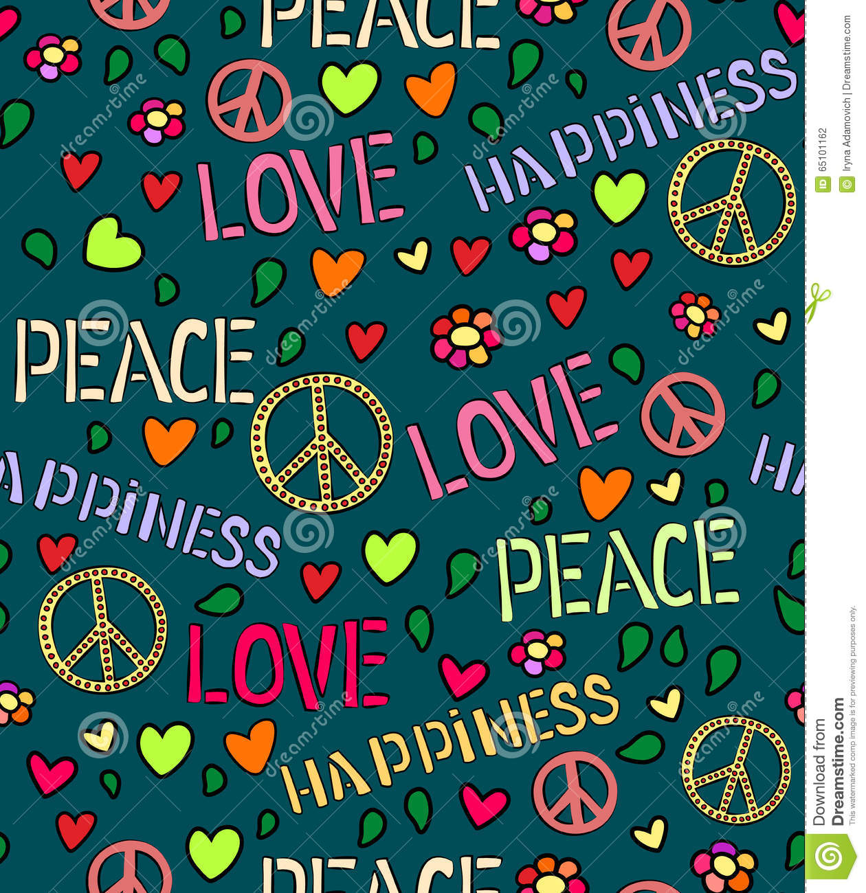 Seamless pattern with symbols of the hippie love and peace color seamless pattern with symbols of the hippie love and peace color background biocorpaavc Images