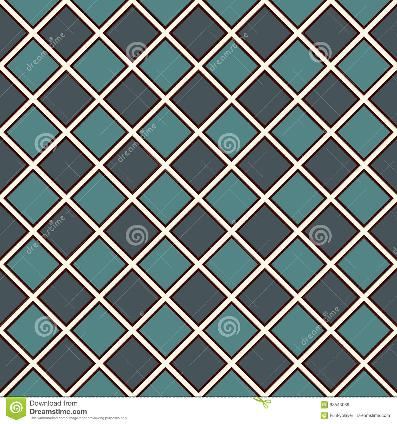 Seamless Pattern With Symmetric Geometric Ornament. Blue