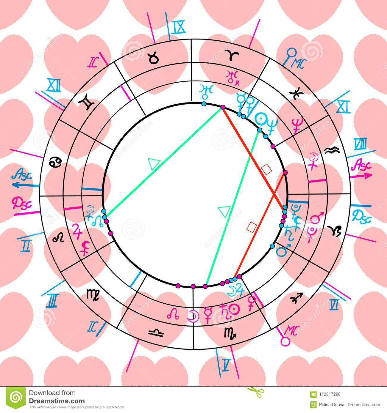 Seamless Pattern Synastry Natal Astrological Chart, Zodiac Signs ...