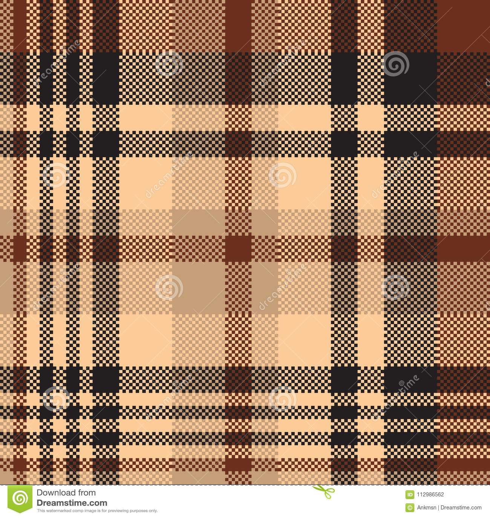 Seamless pattern tartan chocolate color background
