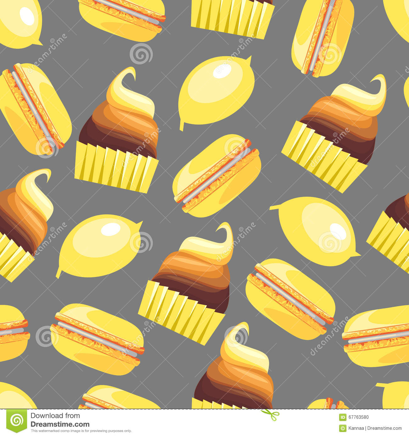 Seamless Pattern With Tasty Macaroons, Cupcake, Cake And
