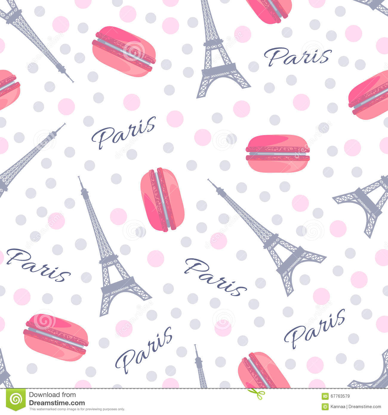 Seamless pattern with tasty macaroons, Eiffel Tower, Paris and dots