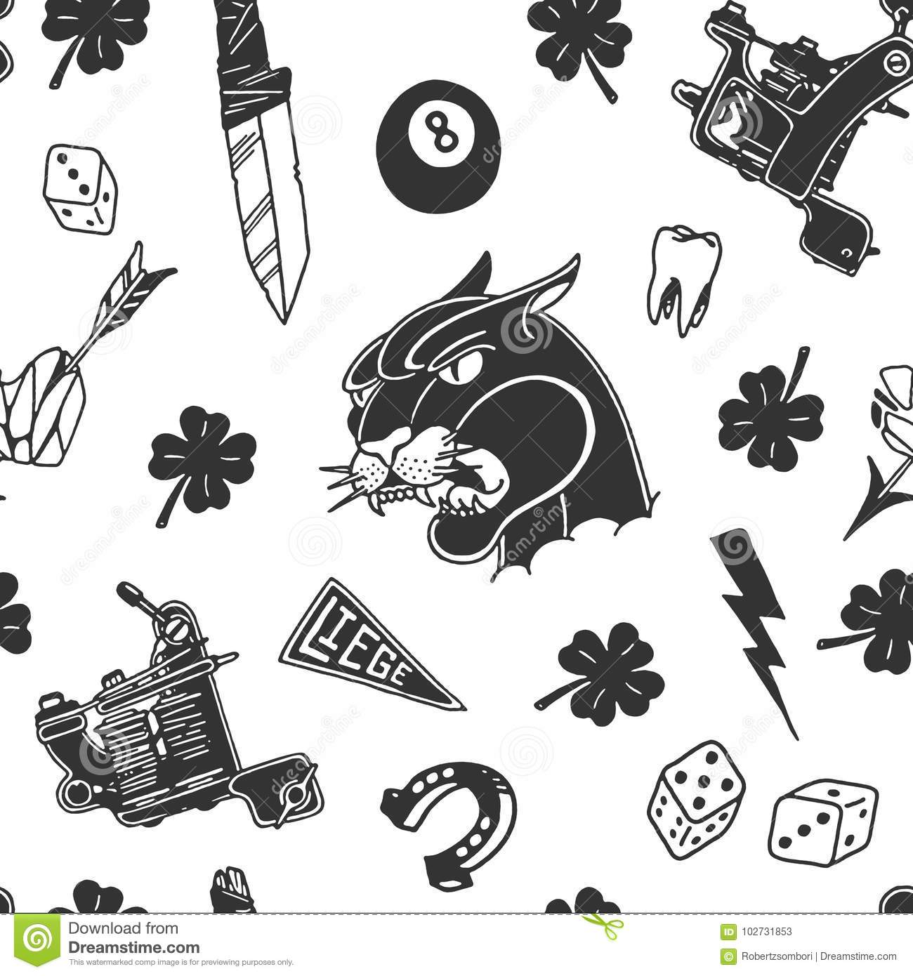 Seamless Pattern With Traditional Tattoo Designs Dice Clover Knife Lightning Bolt Panther Tattoo Machine Tooth Snake Hors Stock Vector Illustration Of Background Eight 102731853